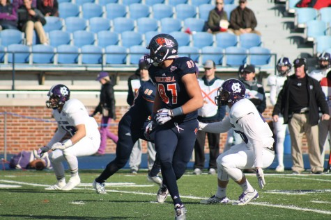 Football falls to Holy Cross, Carter looks to become third Bison to join 2000-yard club