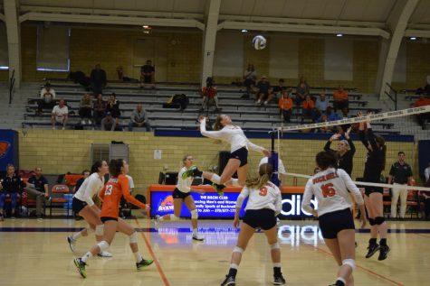 Women's volleyball steals first league win