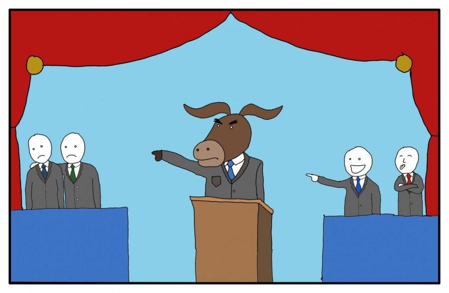 Democratic+debate+field+winnowed%2C+but+Trump+still+looms